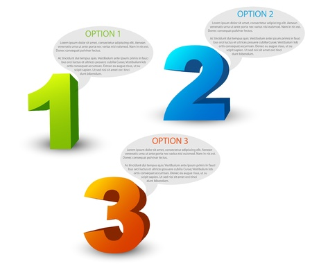 description: One two three - 3D progress icons for three  steps and their description
