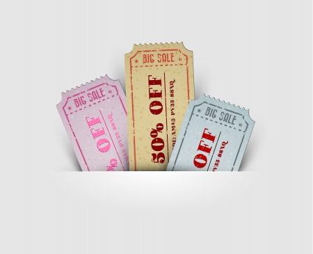 ticket icon: Old vintage paper sale coupons with codes Illustration