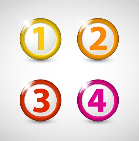 One two three four - progress icons for four steps Stock Vector - 13833616