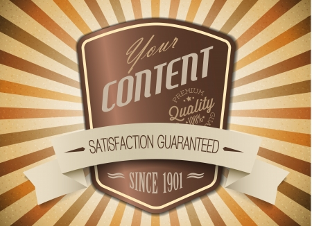content page: Old brown round retro vintage label on sunrays background