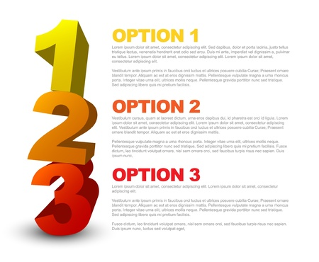One two three - 3D progress icons for three  steps and their description Stock Vector - 13950303