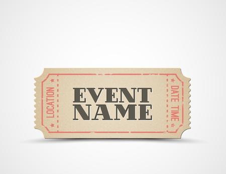 billete de plantilla para su evento - marrón y rojo