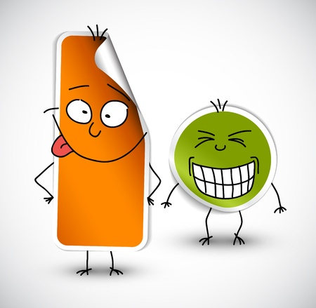 illustation: funny stickers with smiling face green and orange