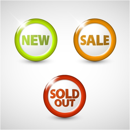 circle 3D buttons for sale, new and sold out items Stock Vector - 13950315