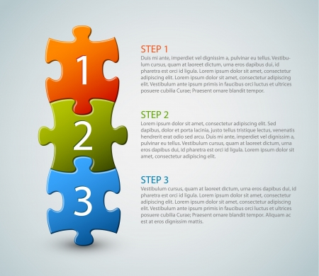 puzzle jigsaw: One two three - progress icons for three steps