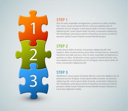puzzle piece: Uno, dos, tres - iconos de progreso para los tres pasos