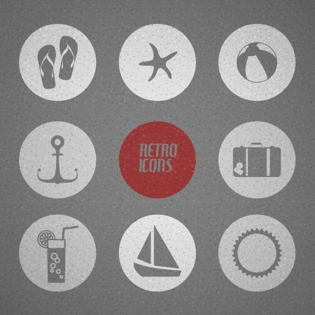 summer poster made from icons - retro black and white version Vector