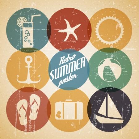 el verano del cartel a partir de iconos - versión en color retro