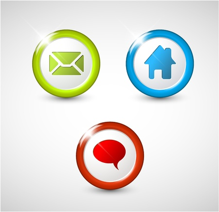 Set of round 3D buttons - home, email, chat, discussion Vector