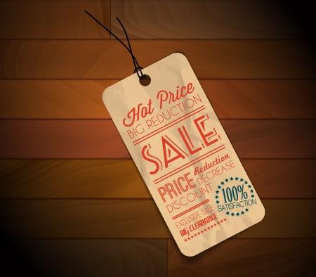 crinkle: Old retro vintage grunge tag for item in sale