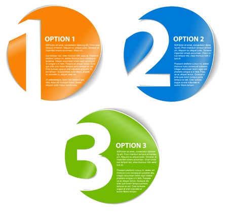 progress steps: One two three - progress icons for three steps or options