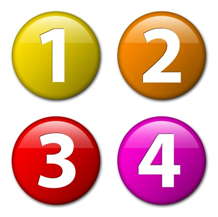 number two: One two three four - badges with numbers - progress icons with four steps