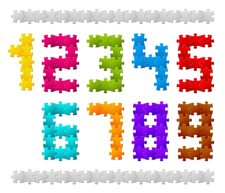Numbers made from colorful puzzle pieces Vector