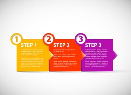 progress steps: One two three - paper progress steps for tutorial
