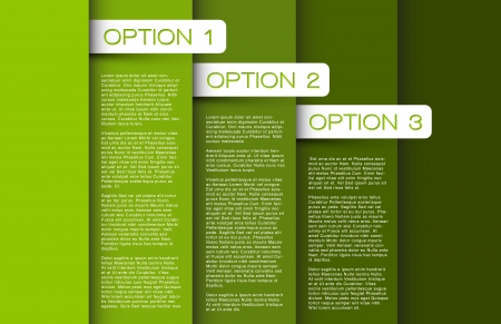 green  Paper options background  product choice or versions Vector