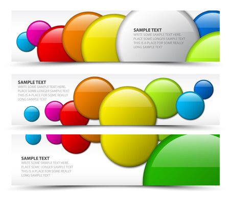Set of horizontal white banners with 3d circles Vector