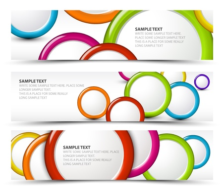 3d shape: Set of horizontal white banners with 3d circles
