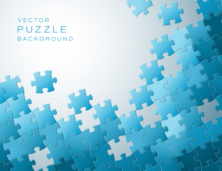 entreprise puzzle: R�sum� de fond fabriqu� � partir de pi�ces de puzzle bleues et le lieu de votre contenu