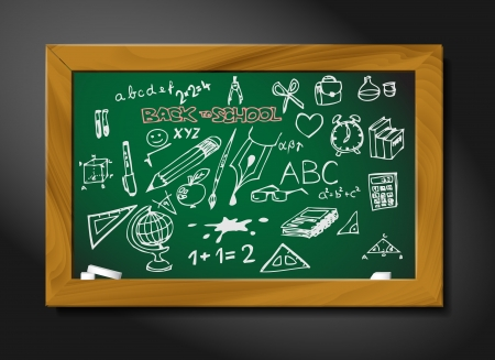 school blackboard illustration on black background - back to school Vector