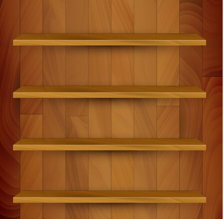 bookcase: Vector wooden empty realistic bookcase illustration