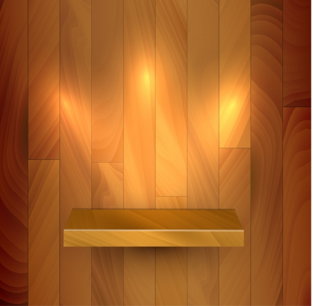 show case: wooden empty realistic bookshelf with lights illustration Illustration
