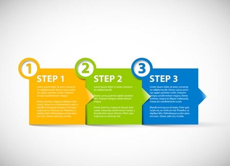 numero uno: Uno dos tres - los pasos de progreso para papel tutorial Vectores
