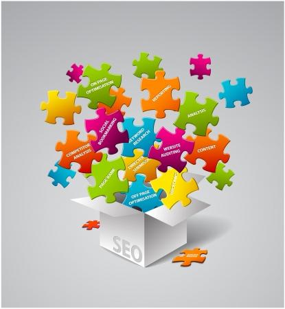 piezas de rompecabezas: SEO - caja llena de elementos de b�squeda de optimizaci�n de motores Vectores