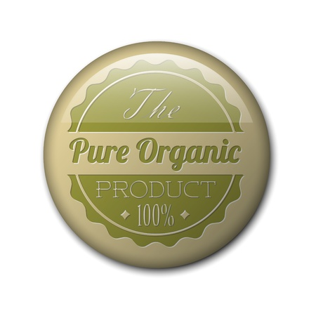 used items: Old round retro vintage grunge badge for bio  organic product