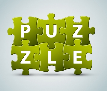 green issue: puzzle lettering - made from puzzle pieces