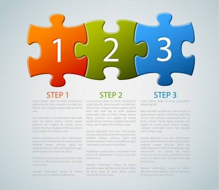jigsaw puzzle: One two three - progress icons for three steps