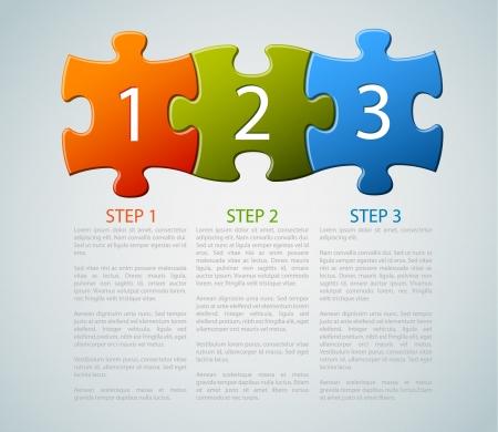 piezas de rompecabezas: Uno, dos, tres - iconos de progreso para los tres pasos