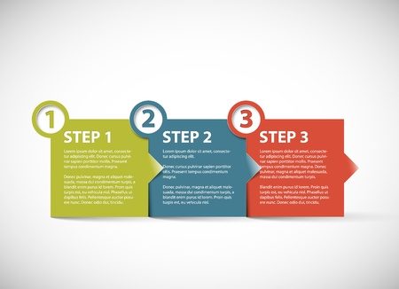 One two three - Paper retro progress steps for tutorial Vector