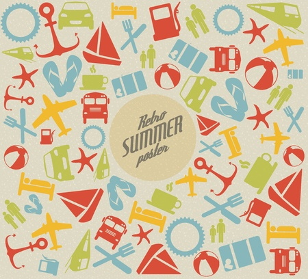 Summer pattern  background with the sun and summer icons Vector