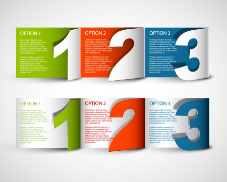 one by one: Paper Progress background  product choice or versions Illustration