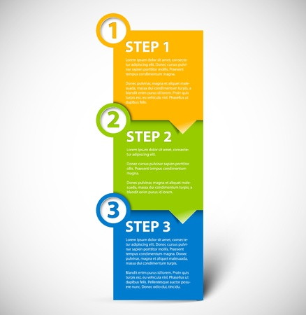 instruct: One two three paper progress steps for tutorial