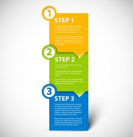 instrucciones: Uno dos tres pasos de progreso para papel tutorial Vectores