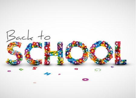 old school: Back to school illustration made from letters Illustration