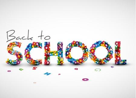 Haga copias de seguridad a la ilustración de la escuela a partir de las letras Ilustración de vector