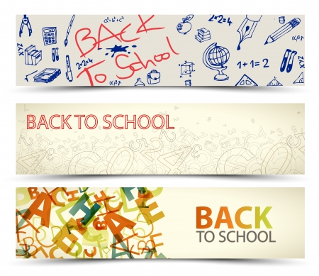 old school: Back to School banners with drawings, doodles and letters Illustration