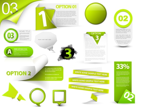 page layout: Set of green progress, version, step icons Illustration