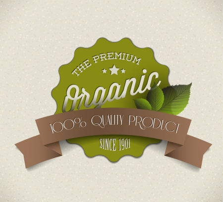 organic background: Old round retro vintage grunge label for bio  organic product