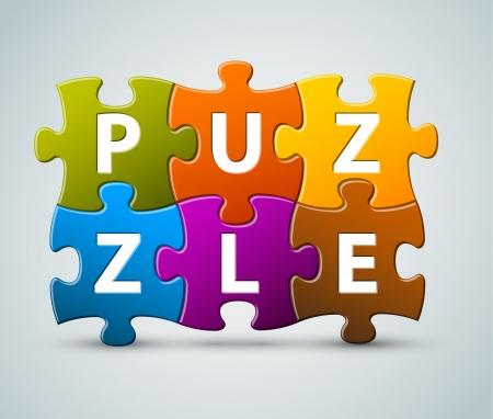 piezas de puzzle: letras de colorido rompecabezas - a partir de piezas de un rompecabezas Vectores