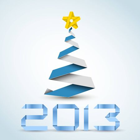 Simple vector christmas tree made from blue paper stripe - original new year card Vector
