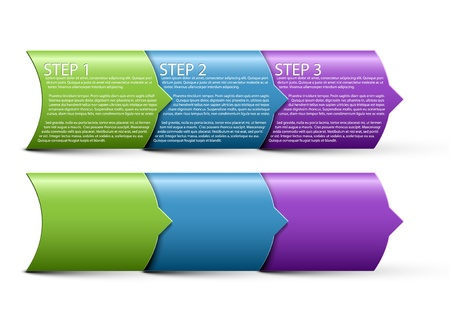 One two three - vector paper progress steps for tutorial Vector