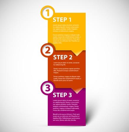 instrucciones: Uno dos tres - vector de progreso para los pasos de papel tutorial Vectores