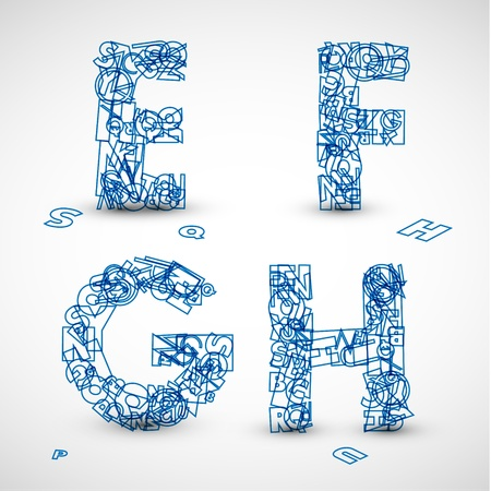 Vector font made from blue letters of the alphabet (check my portfolio for other letters) Vector