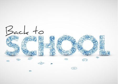 Back to school vector illustration made from letters Vector