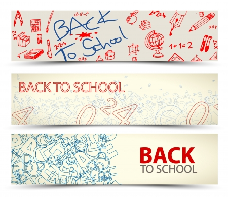 alphabet wallpaper: Back to School vector banners with drawings, doodles and letters Illustration
