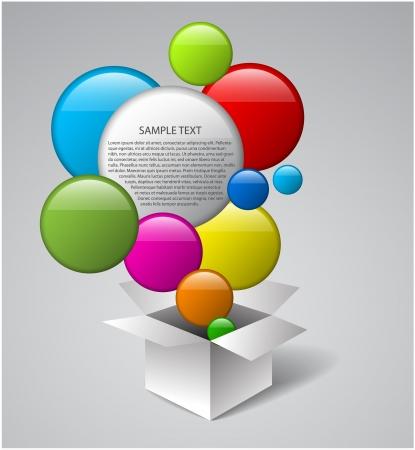 magic box: White vector box full of colorful bubbles Illustration