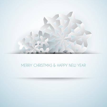 fiambres: Vector de papel blanco navidad copos de nieve sobre un fondo azul claro Vectores